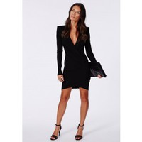 Missguided - Amaline Cross Over Tailored Dress In Black