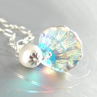 Crystal Shell Necklace Sterling Silver Swarovski Crystal Aurora Sea Shell Necklace Summer Fashion Beach Wedding