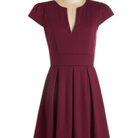 ModCloth Mid-length Cap Sleeves A-line Meet Me at the Punch Bowl Dress in Berry
