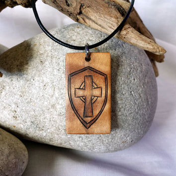 Armor of God Jewelry, Mens Cross and Shield Necklace Pendant, Christian Jewelry for Men