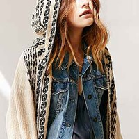 Oversized Pattern Hooded Ruana - Urban Outfitters