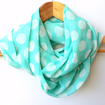 Mint Green White Polka Dot Infinity Scarf Spring Fashion Women Loop Circle Scarf Chiffon Scarf