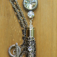 Bullet Necklace, Crystal Bullet Necklace, Silver Bullet Necklace, Outlaw Glam