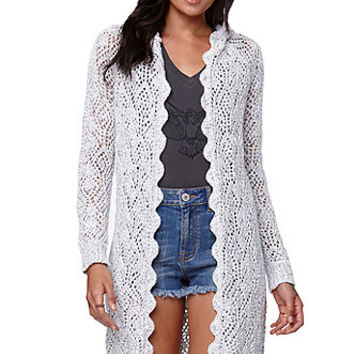 Kendall & Kylie Pointelle Oversized Cardigan - Womens Sweater - White -