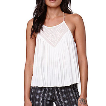 Kendall & Kylie Pleated Strappy Tank - Womens Shirts - White -