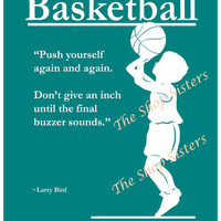 Motivational Basketball Boy Silhouette Teal Blue Green 8 x 10 Print Wall art FREE SHIPPING Inspirational