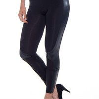 In Session Faux Leather Trim Leggings - Black