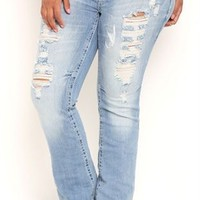 Plus Size Amethyst Flare Jean with Super Light Blasted Wash