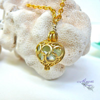 Sea Glass Locket Necklace, beach bride heart pendant full of seaglass from Hawaii, Hawaiian jewelry for mermaids