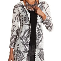 Hooded Aztec Duster Cardigan Sweater