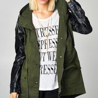 FAUX LEATHER TRIM ANORAK MILITARY JACKET