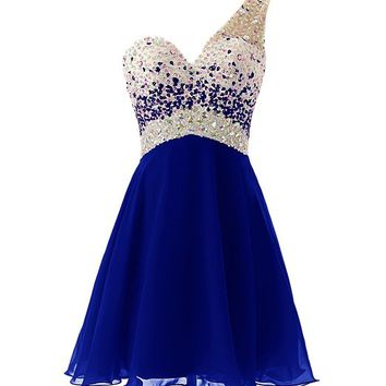 Dresstells One Shouder Homecoming Dress with Beadings Short Bridesmaid Dress