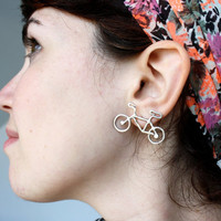 Bike Earrings- Handmade Sterling Silver Studs