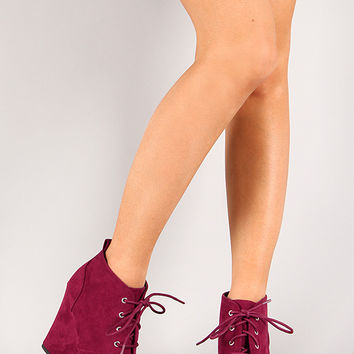 Qupid Val-01 Lace Up Wedge Bootie