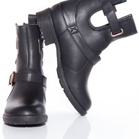 Cut Out for All This Cut Out Buckle Boots - Black