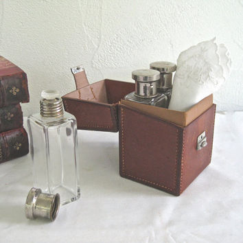 Vintage Leather travel case ~ Mlle BBB packed perfumes, creams and (maybe a little brandy?)  for the Grand Tour