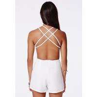 Missguided - Pilarica White Strappy Playsuit