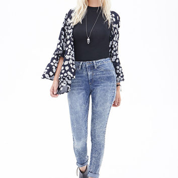 Mid-Rise - Mineral Wash Skinny Jeans