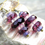 Mod Style Faceted Purple Stack Earrings