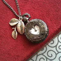 Steampunk Pocket Watch locket necklace Fall in love with u