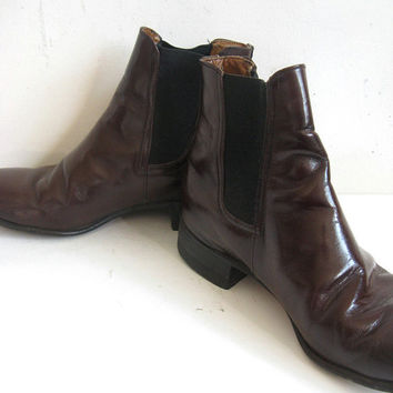 Vintage 1980s Mens Boots Eatons OSullivan Brown Leather Chelsea Boots 7.5