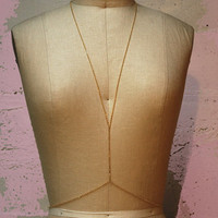 basic n0-3 body harness - thin, gold plated chain version - shiny gold finish