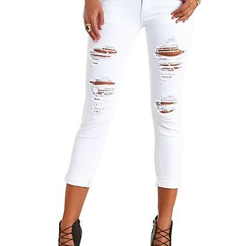WHITE SKINNY CROPPED DESTROYED BOYFRIEND JEANS