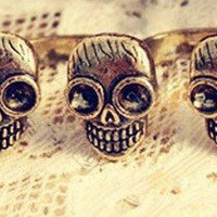 Three Skulls Double Ring Vintage Punk Size 5 | christinepurr - Jewelry on ArtFire