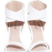 Wrapped Up in the Moment Dressy Ankle Strap High Heel Sandals - White