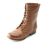 Lace-Up Plaid-Lined Combat Boots by Charlotte Russe - Cognac