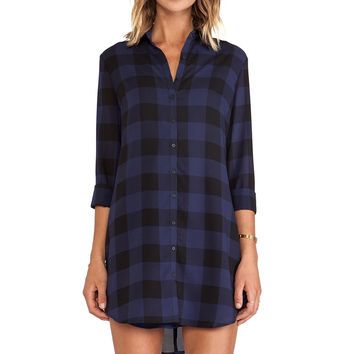 BB Dakota Keenan Plaid Shirt Dress in Navy