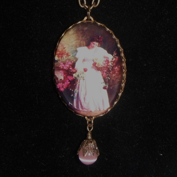 Victorian Lady Domed Pendant Necklace Pink Brass Art Print Roses Lace Gift fashion under 30
