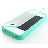 Thousand Eight(TM) For Apple iPhone 4 4S TPU Wrap Up Skin Case Cover w/ Built in Screen Protector + [FREE Touch Screen Stylus](Fashion wrap up Teal) (green) (green 11)