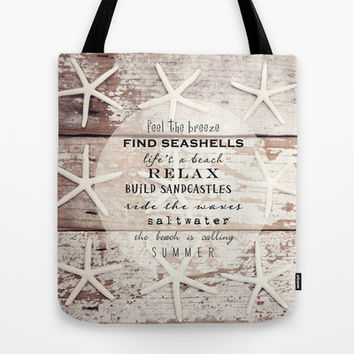 starfish on wood Tote Bag by Sylvia Cook Photography
