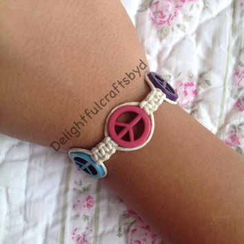 Multicolor peace sign hemp bracelet