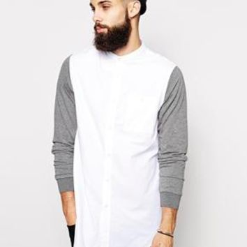ASOS Longline Shirt With Contrast Jersey Sleeves And Grandad Collar -