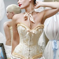 Sexy White Embroidered Satin Strapless Corset  Discount Satin Corset