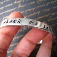 "GAME of THRONES ""My Sun and Stars"" Bangle, ""Shekh ma Shieraki Anni"" in Dothraki, Hand-Stamped Lightweight Silver, Dothraki Font, FREE Ship"