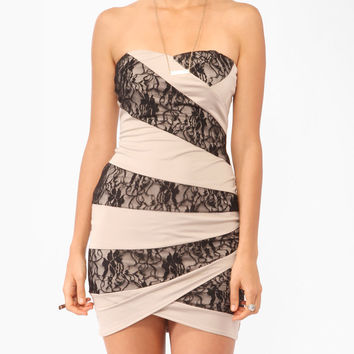 Lace Panel Tube Dress