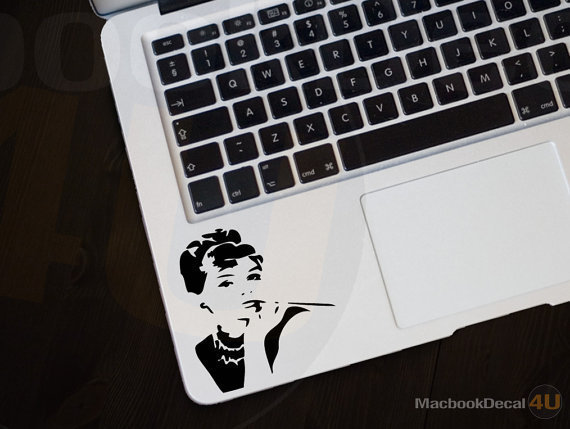 Audrey  Hepburn Frontal MackBook Decal sticker 11&#x27;&#x27; 13&#x27;&#x27; 15&#x27;&#x27; 17&#x27;&#x27; Ipad