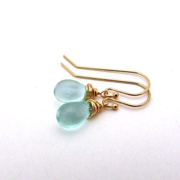Small mint blue drop earrings, aqua glass earrings, gold fill Czech glass jewelry, delicate earrings, mint drop earrings, light blue jewelry