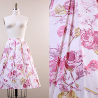 60s skirt / 1960s vintage ROSE floral pleated full skirt / white & pink size M L