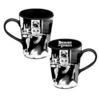 Vandor 92062 Audrey Hepburn Ceramic Mug, Black and White, 12-Ounce