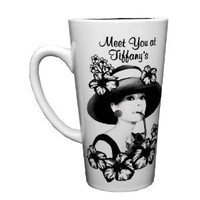 Silver Buffalo Radio Days Audrey Hepburn Meet You At Tiffany's, Tall Latte Ceramic Mug, 16 Ounces, Multicolored (XX6735)