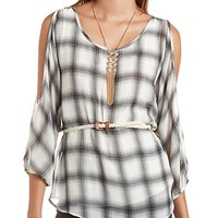 COLD SHOULDER BELTED PLAID TUNIC TOP
