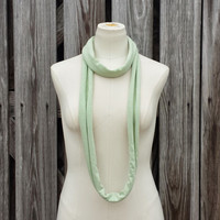 SKINNY SCARF - Bamboo Green Infinity Scarf - Light Green Necklace - Cotton Eternity Scarf