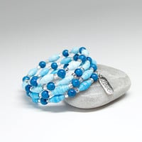 Love Charm Bracelet with blue beads, paper bead jewelry, anniversary gift, I Love You gift