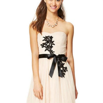Strapless Floral Applique Dress