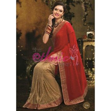 Glorious Beige And Red Net Saree - Bridal Sarees - Sarees - Womens Clothing - TheEthnicWear