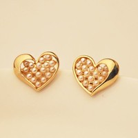 Pearled Golden Heart Earrings